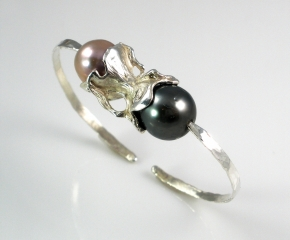 Sterling, Tahitian & Freshwater Pearl Cuff