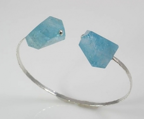 Sterling w/ Aquamarine Nugget Cuff