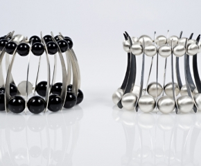 Sterling Silver Spines w/ Onyx & Sterling Silver Bead Balls