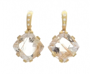 18k Yellow Gold, Rutilated Quartz w/ Diamonds