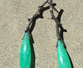 Sterling Oxidized & Chrysoprase Twig