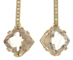 18k Yellow & White Gold, Rutilated Quartz w/ Yellow Sapphires