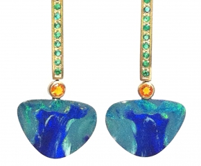 18k Yellow Gold, Boulder Opal, Fire Opal w/ Emeralds