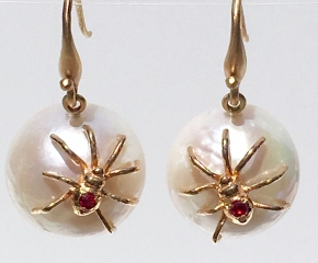 18k Yellow Gold, Freshwater Pearl & Ruby