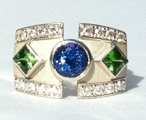 18k White Gold, Tanzanite, Tsavorite Garnets & Diamonds