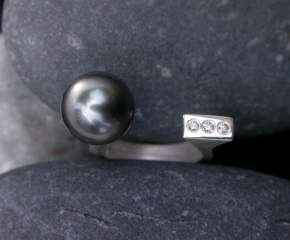 Tahitian Pearl w/ Brown Diamonds & Sterling - Balancing Act