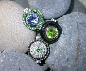 Sterling, Tsavorite Garnets & Lab Blue Sapphire, Onyx & Peridot, Black Spinel, Color Change Garnet & Chrome Tourmaline