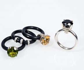 Stackable Sterling & Neoprene Solitaire