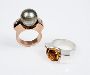 Rose Gold w/ Faceted Tahitian Pearl & White Diamonds - Sterling w/ 18K & Citrine