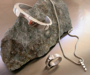 Sterling Silver Cuff, Necklace & Ring