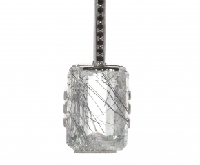 Palladium, Tourmalinated Quartz w/ Black Spinel on 14k White Gold & Black Rhodium Chain