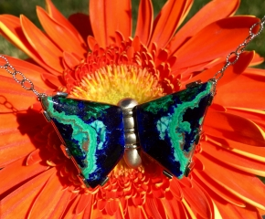 "Azurite/Malachite & 14k White Gold ~ Two-Sided Necklace & Hinged Center ~ See ""Blog"" for back view"