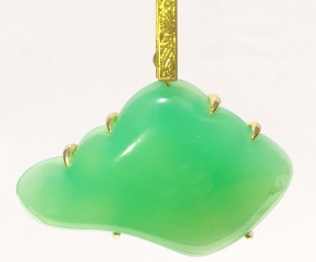 18k Gold, Chrysoprase Pendant on Stainless Steel Snake Chain