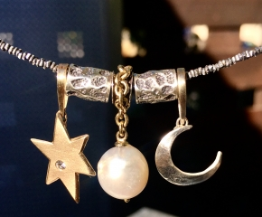 Star - 10k/White Sapphire, Sun - 18k/SS & South Sea Pearl, Moon - Sterling
