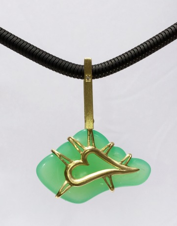"""Cloud"" of Chrysoprase & 18k Gold"