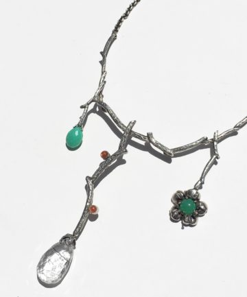 Sterling, Tourmalinated Quartz, Chrysoprase & Sunstone Necklace